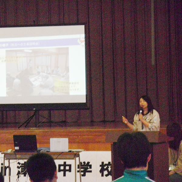 津南中学校での出張PR